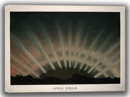 Trouvelot, Etienne Leopold: Aurora Borealis. (The Trouvelot Astronomical Drawings, 1882). Astronomy/Space Canvas. Sizes: A4/A3/A2/A1 (00100)
